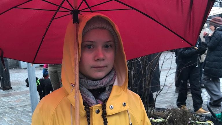 En ung tjej, Greta THunberg, i gul regnjacka under ett rött paraply.
