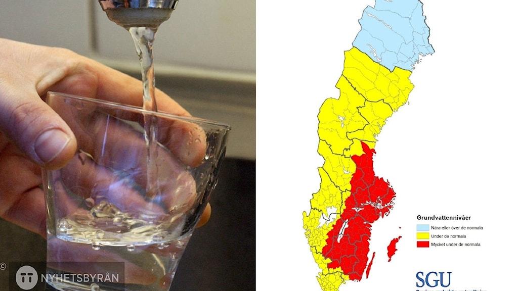 Två bilder, en med vattenglas och en med karta över Sverige där vattenbrist är hög i sydöstra landet.