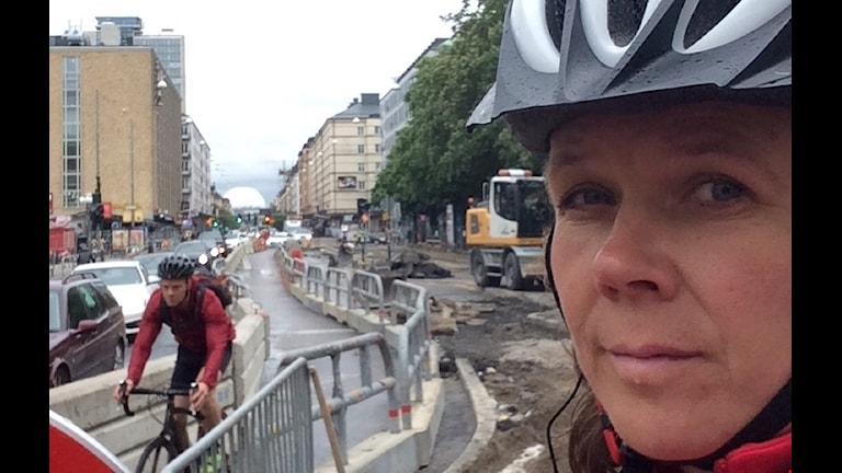 Cykla, söder, trafikarbeten, stadscykling, Götgatan