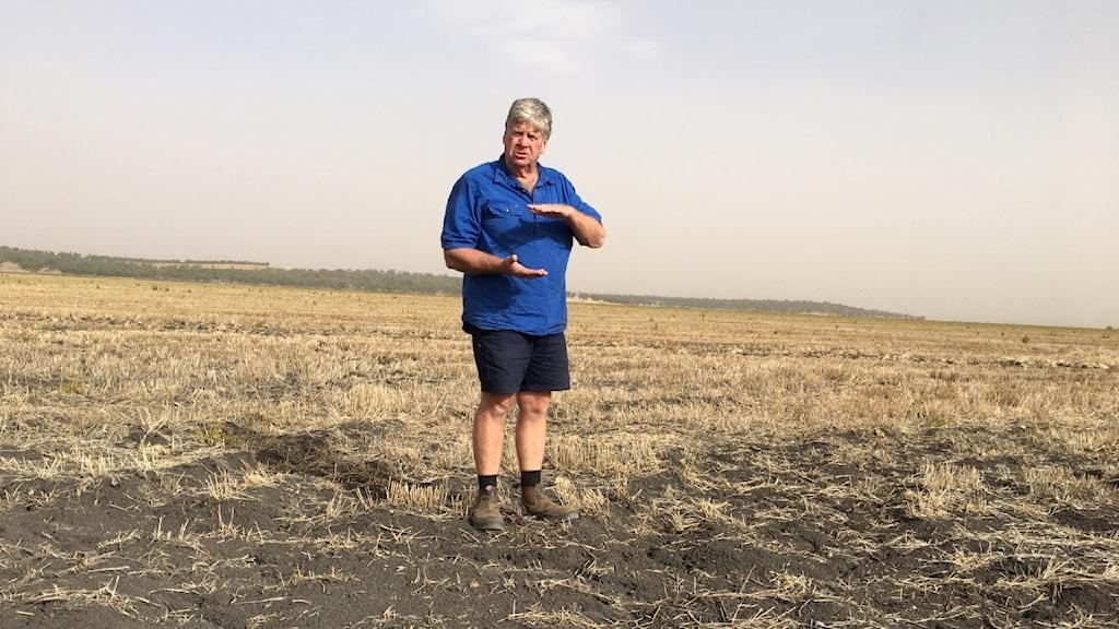 En man står på en torkad, gul åker.