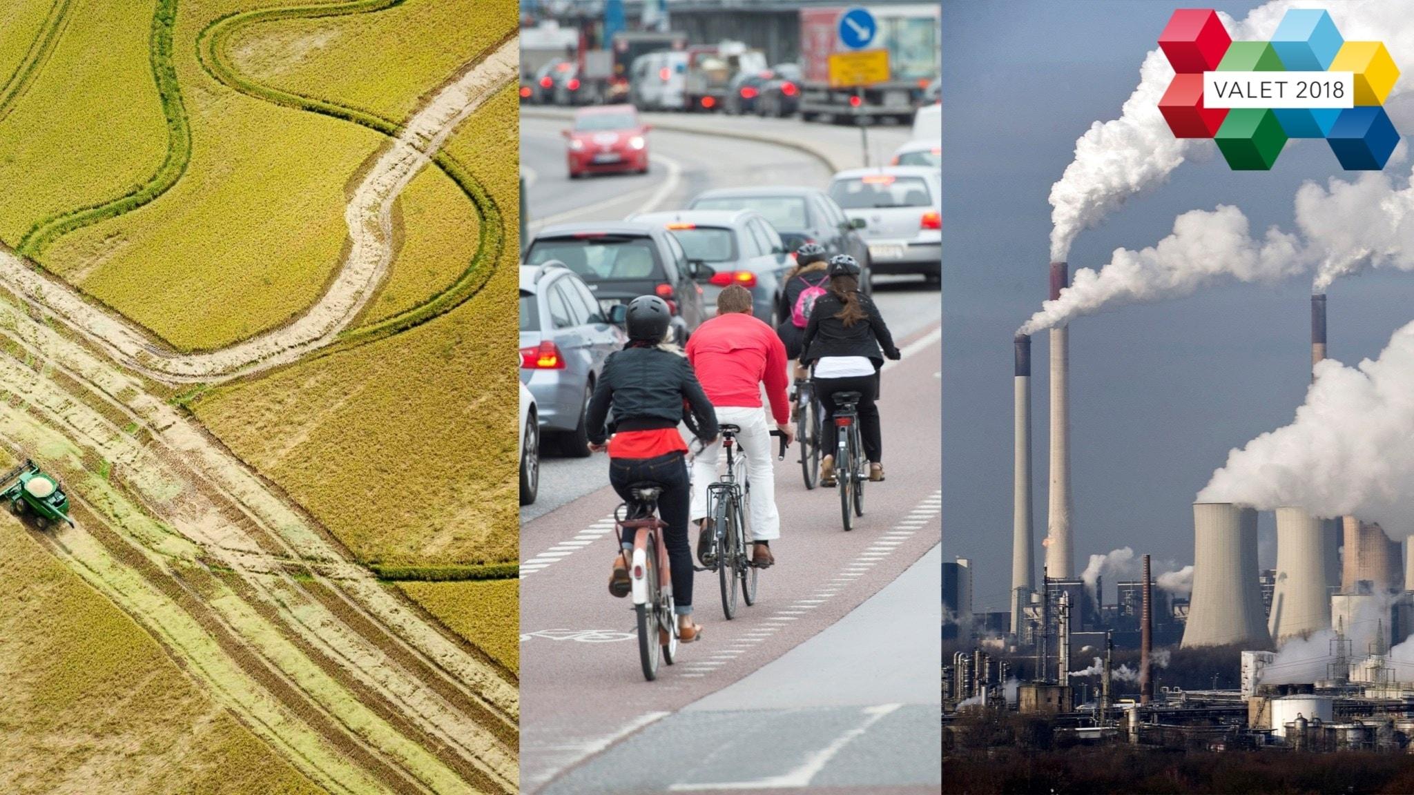 Kollage: jordbruk, cyklister och koldioxid.