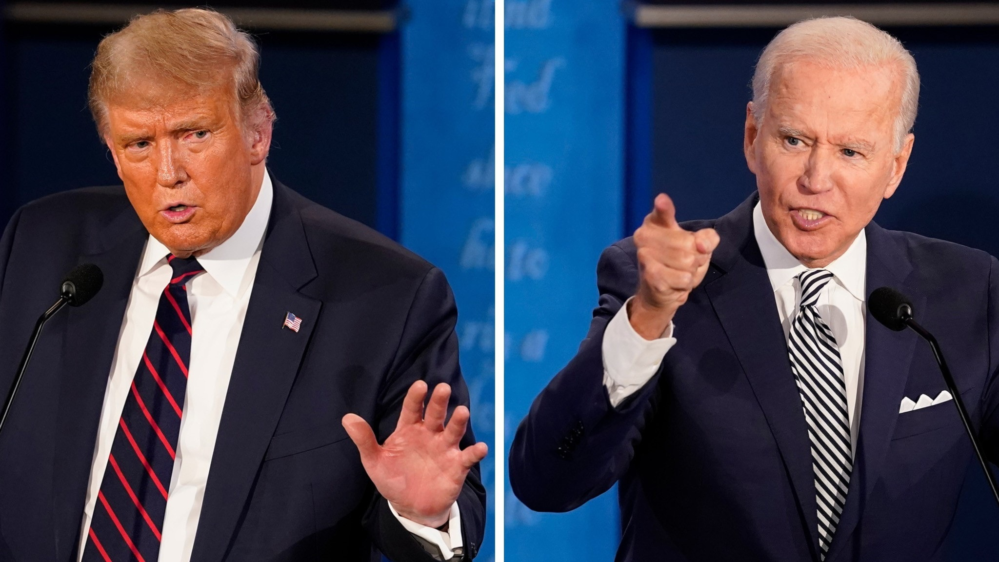 Ett montage med en bild på Donald Trump och en på Joe Biden.