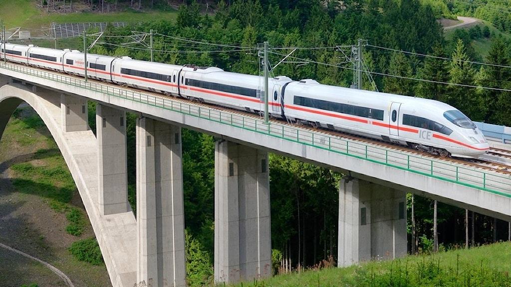 Ett tåg kör på en järnvägsbro