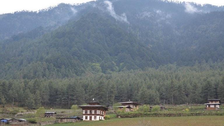 Hus på landsbygden i Bhutan