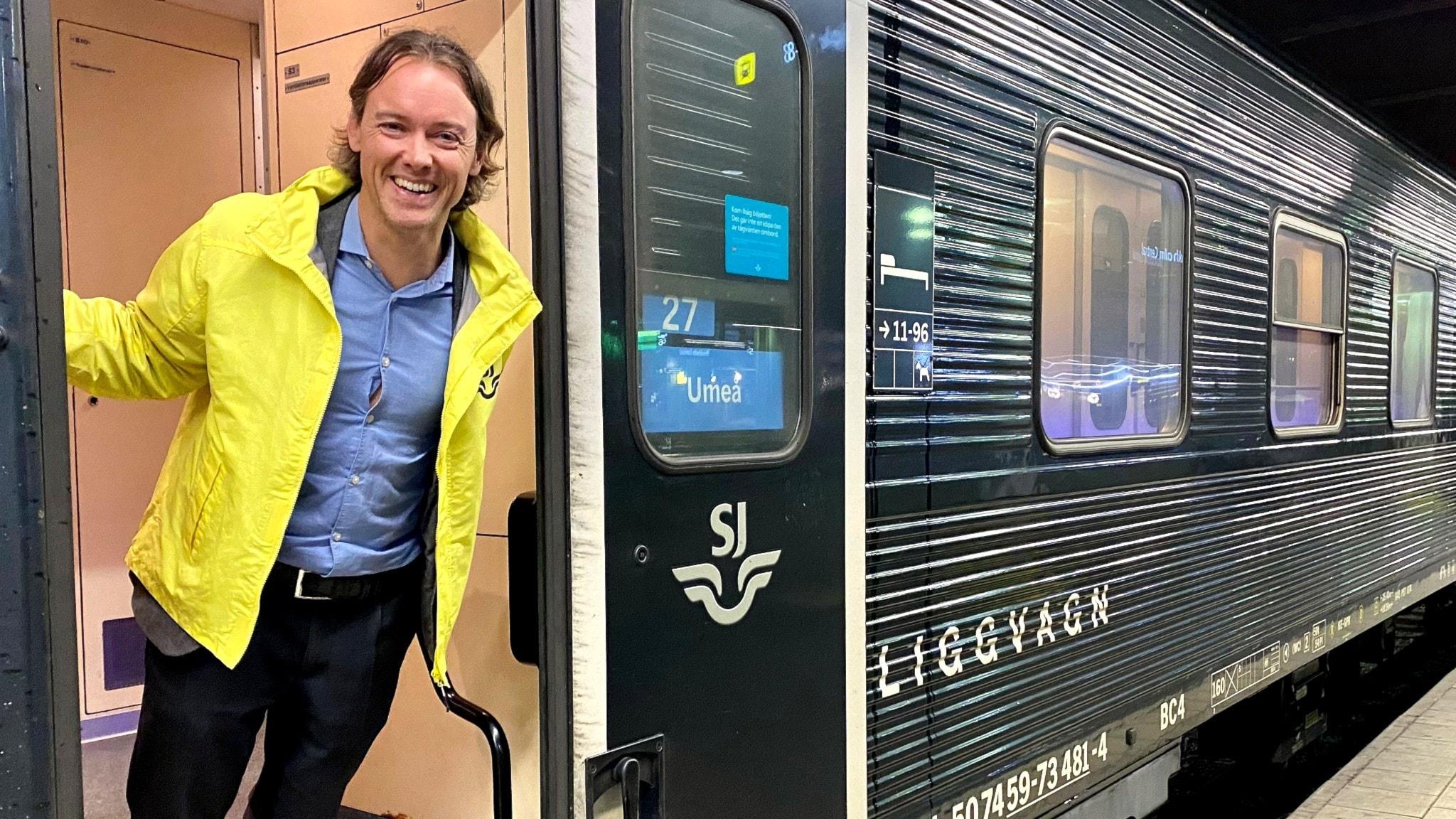 Dan Olofsson, upphandlingsansvarig SJ, på ett av nattågen inne på Stockholm central.