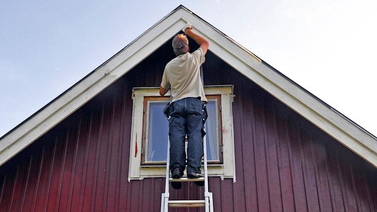 Man står på stege och målar en röd husgavel