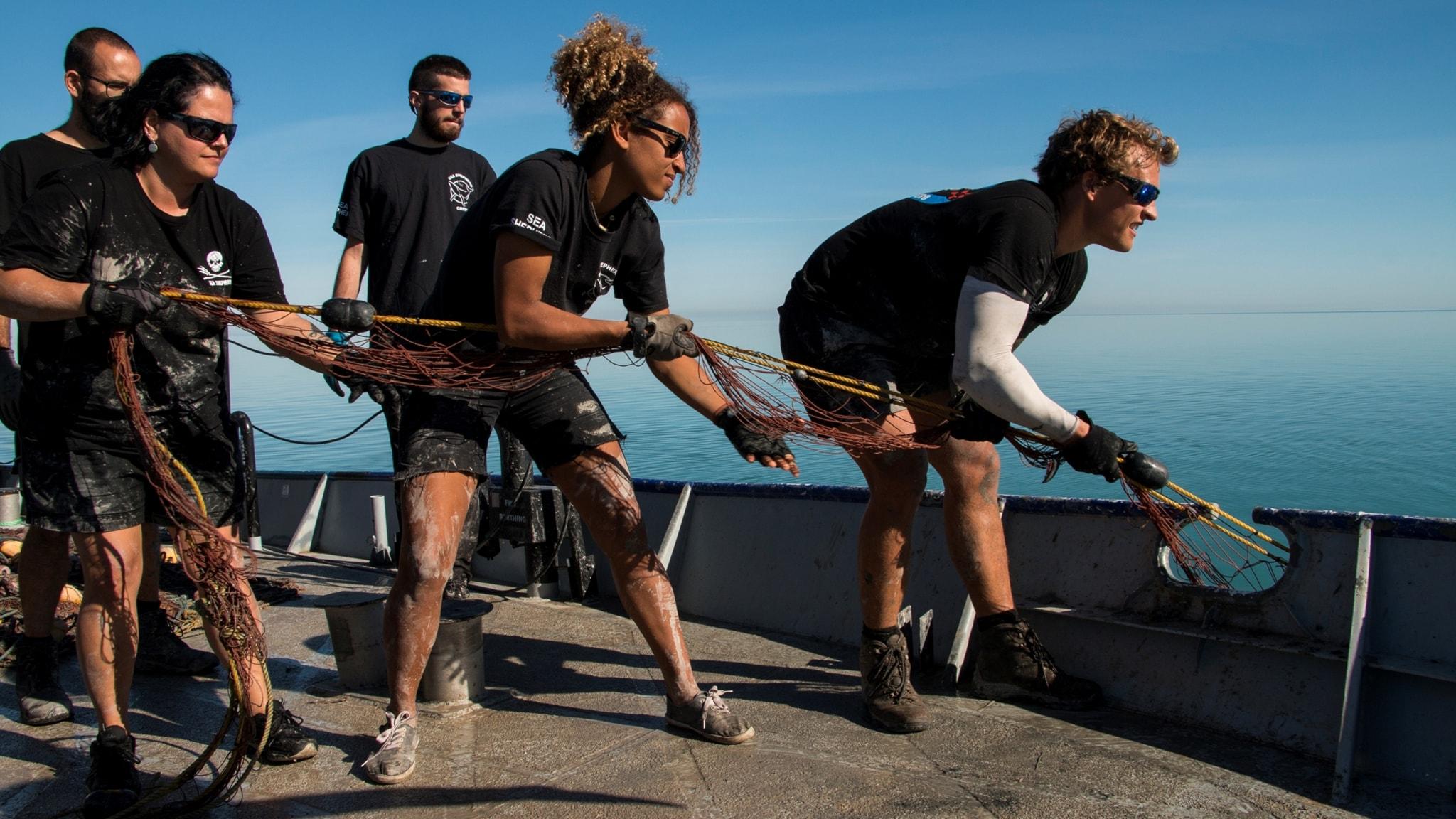 Tre personer står på ett båtdäck och drar upp ett fisknät
