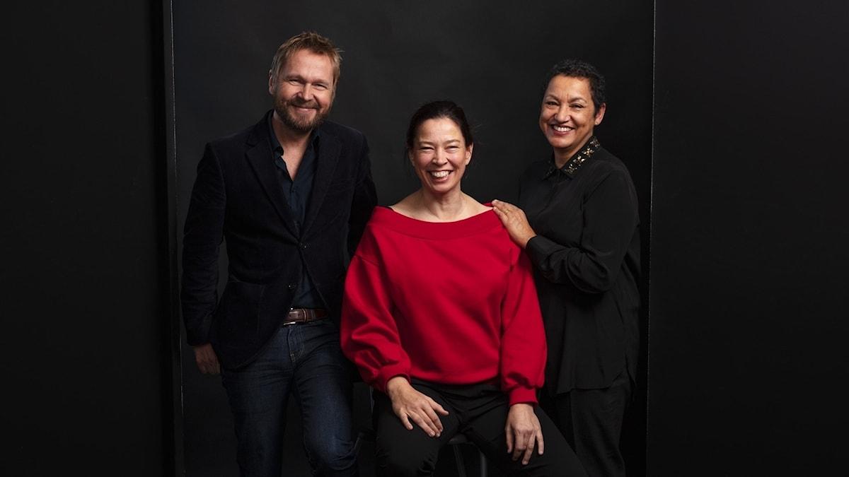 Björn Wiman, Marie Lundström och Astrid Assefa i Bokcirkeln hösten 2018.