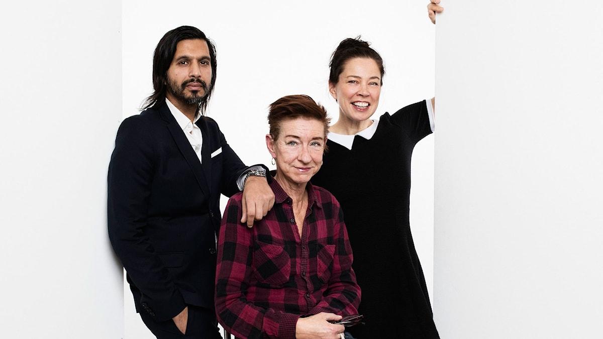 Qaisar Mahmood, Nina Lekander och Marie Lundström. Foto: Mattias Ahlm/SR Foto.