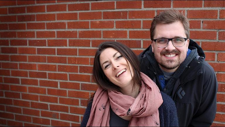 Erik Nyberg och TullaMaja Fogelberg, programledare P4 morgon Västernorrland. Foto: Karin Lycke/Sveriges Radio