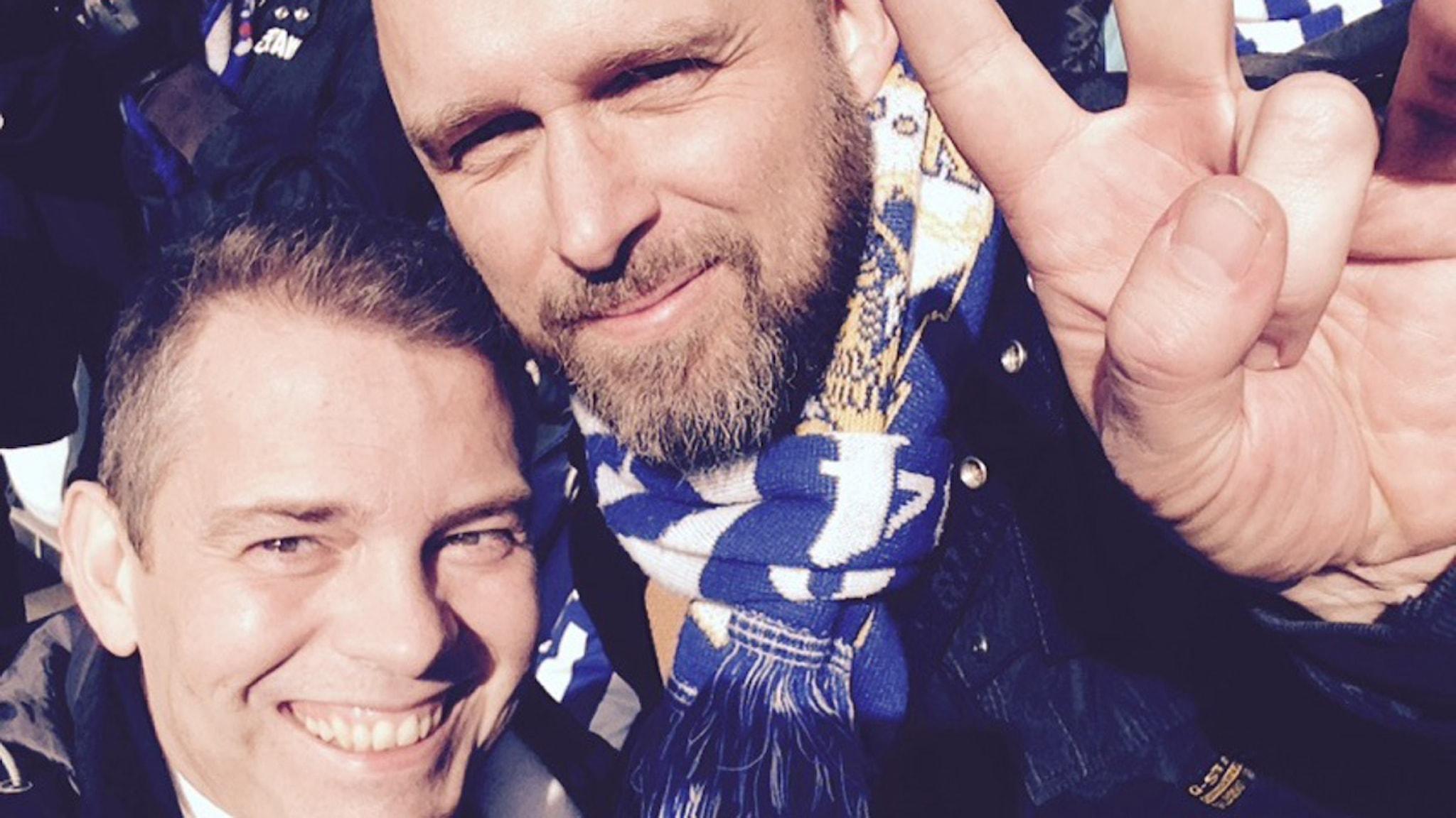 Daniel Tisell och Pontus Bäckström, IFK-pappor. Foto: Emil Östlund/Sveriges Radio
