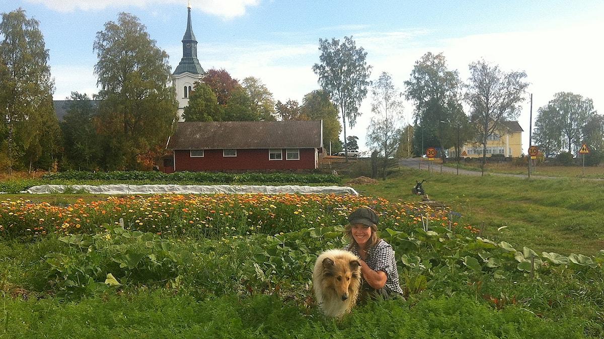 Maja Söderberg i sin åker, framför kyrkan och skolan.