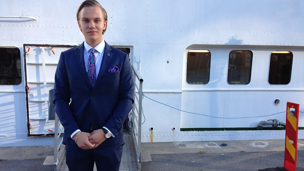Tobias Andersson är ordförande för det nybildade SDU - Ungsvenskarna. Foto: Ninos Chamoun/SR