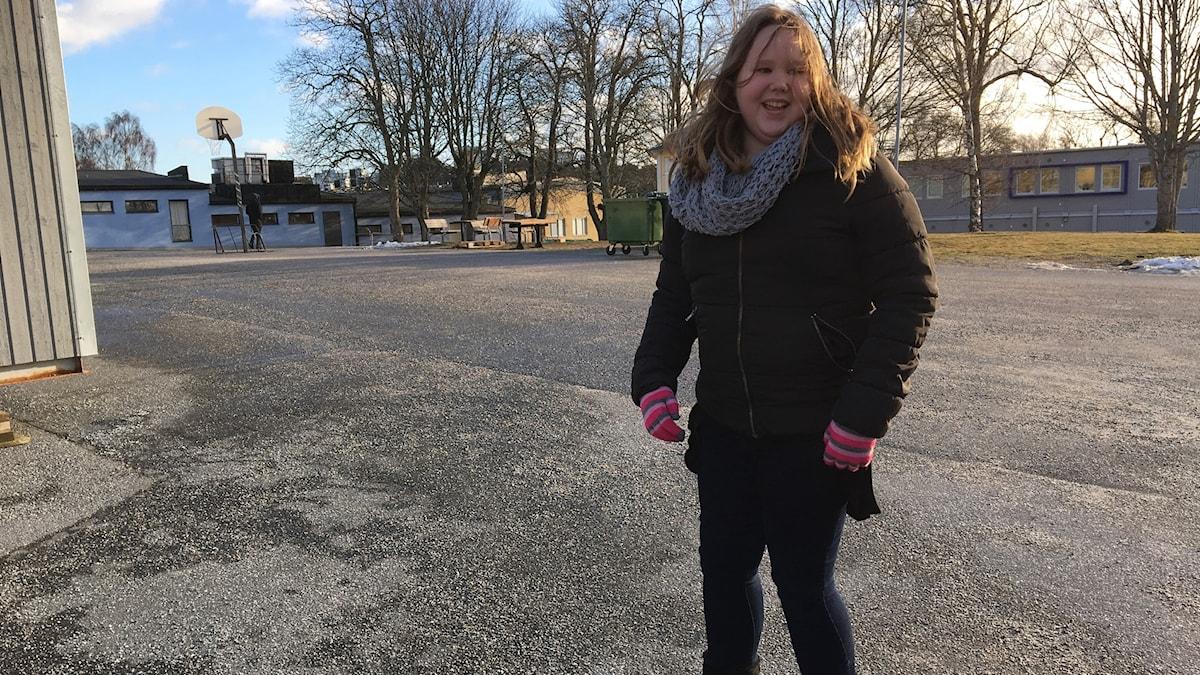 Hanna 11 år,  på sin nya skola