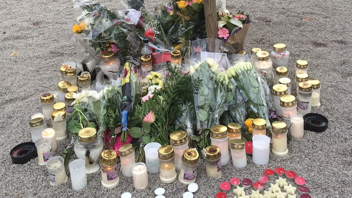 Minnesplatsen där en 23rig man sköts till döds i Segevång i mars 2017.