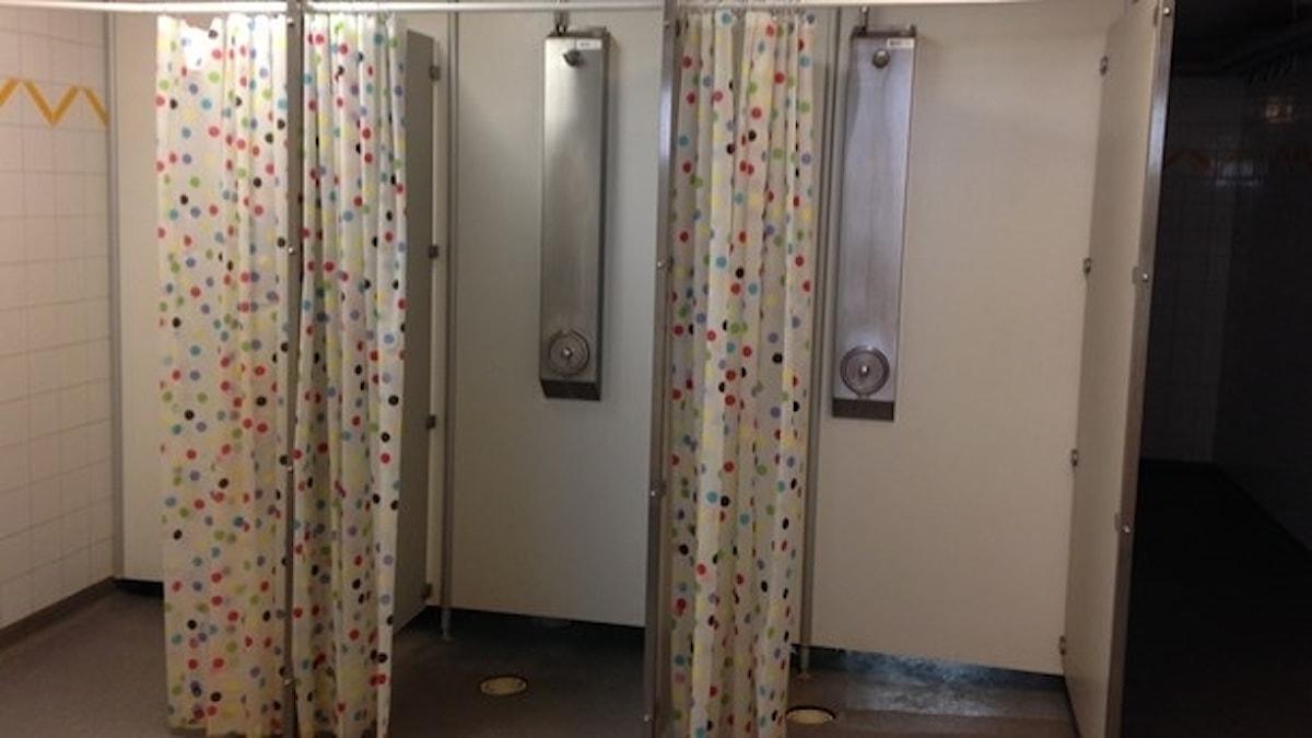 I den här skolan finns duschdraperier.