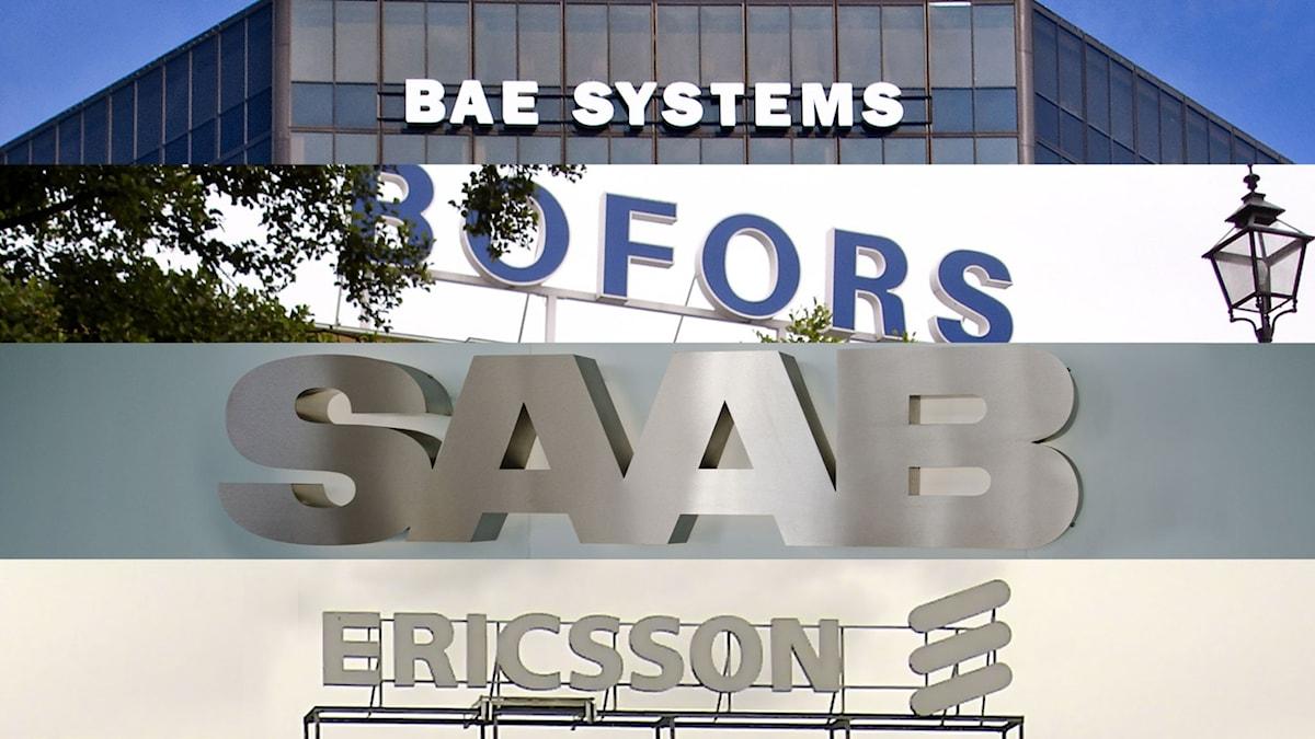 Logotyper för BAE System, Bofors, Saab och Ericsson. Foto: Ron Cogswell/Ofog/Henrik Sonnergård/Vernaccia/Flickr. (CC)
