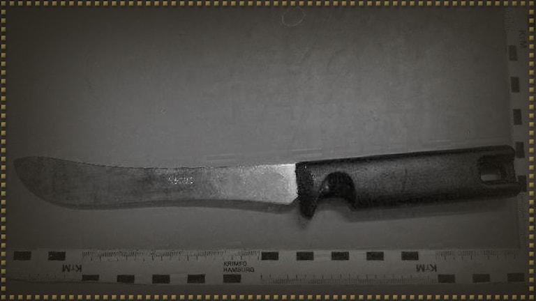 Kniv fotograferad vid linjal.