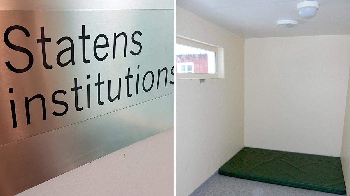 Skylt: Statens institutionsstyrelse. Litet rum med kala väggar, litet gönster och naken madrass på golvet.
