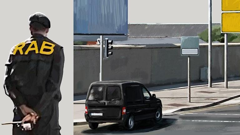 Man i solglasögon och huvudduk, bokstäverna RAB på ryggen. Minibuss vid vägkant. Bild: Sveriges Radio.