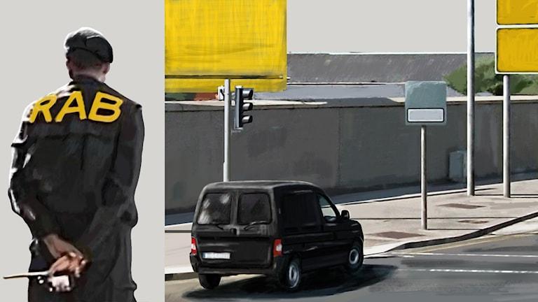Man i solglasögon och huvudduk, bokstäverna RAB på ryggen. Minibuss vid vägkant. Illustration: Liv Widell, Ekot