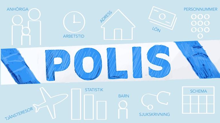 Polisgranskning. Illustration: Liv Widell / Sveriges Radio