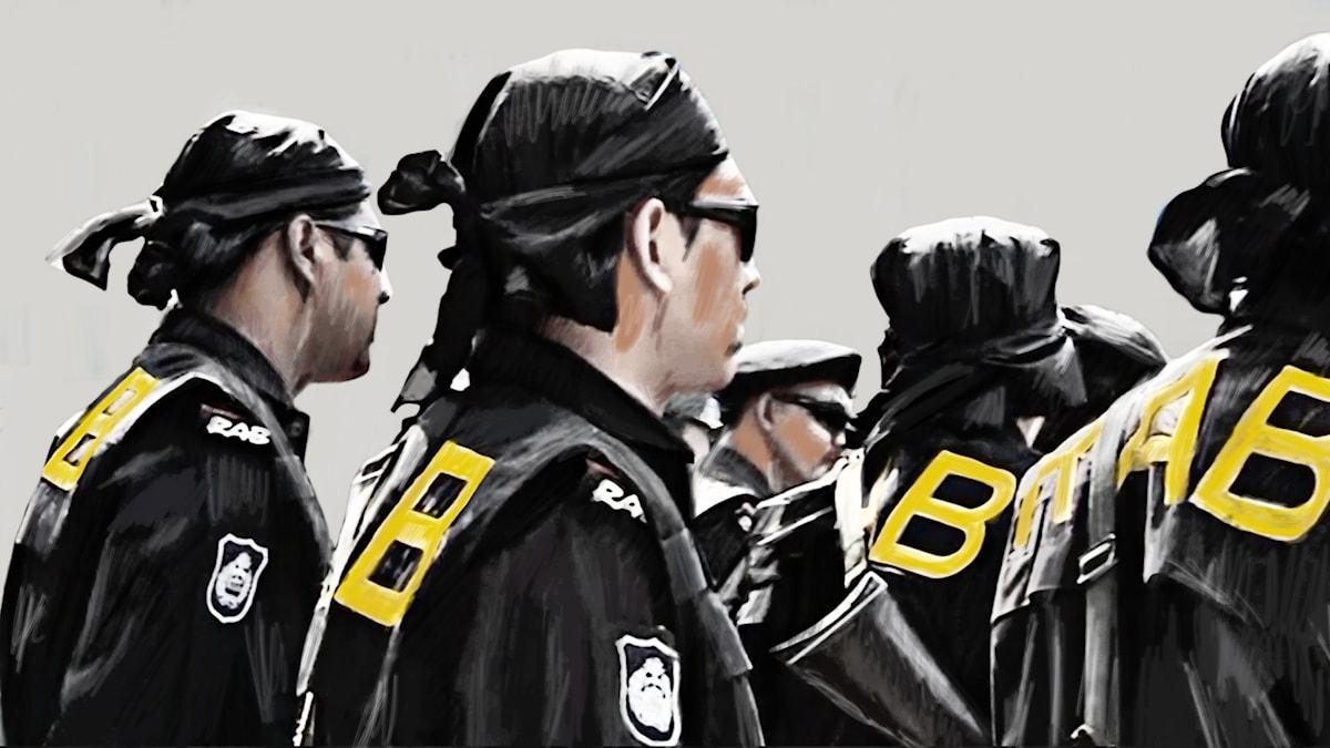 Män i solglasögon och huvudduk, bokstäverna RAB på ryggarna. Illustration: Liv Widell/Sveriges Radio.