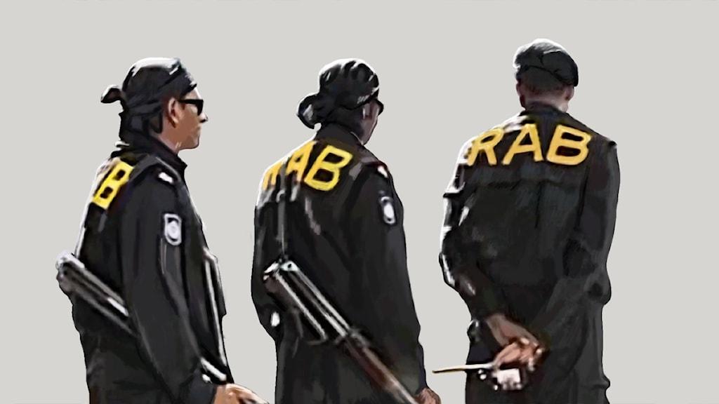 Män i solglasögon och huvudduk, bokstäverna RAB på ryggarna. Illustration: Liv Widell, Ekot