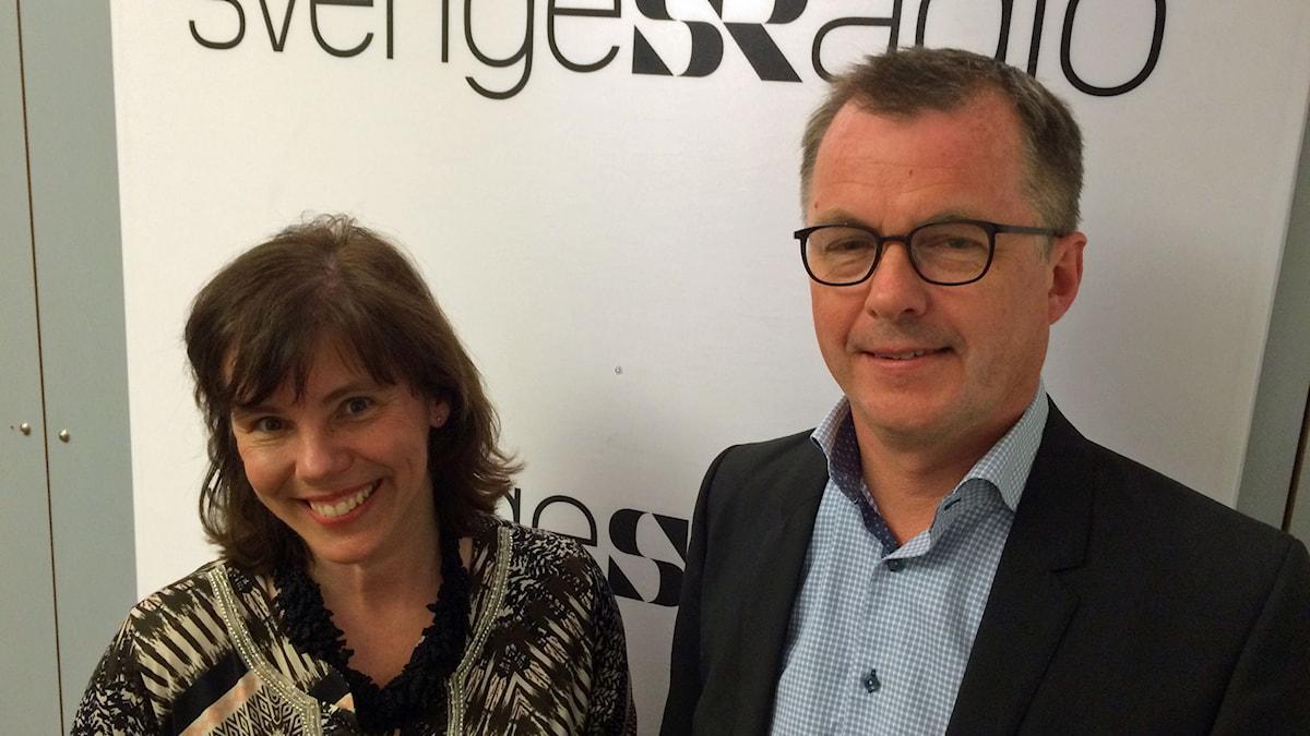 Ingrid Eiken, vd Mäklarsamfundet, och Johan Hansing, chefsekonom Bankföreningen. Foto: Catarina Friskman