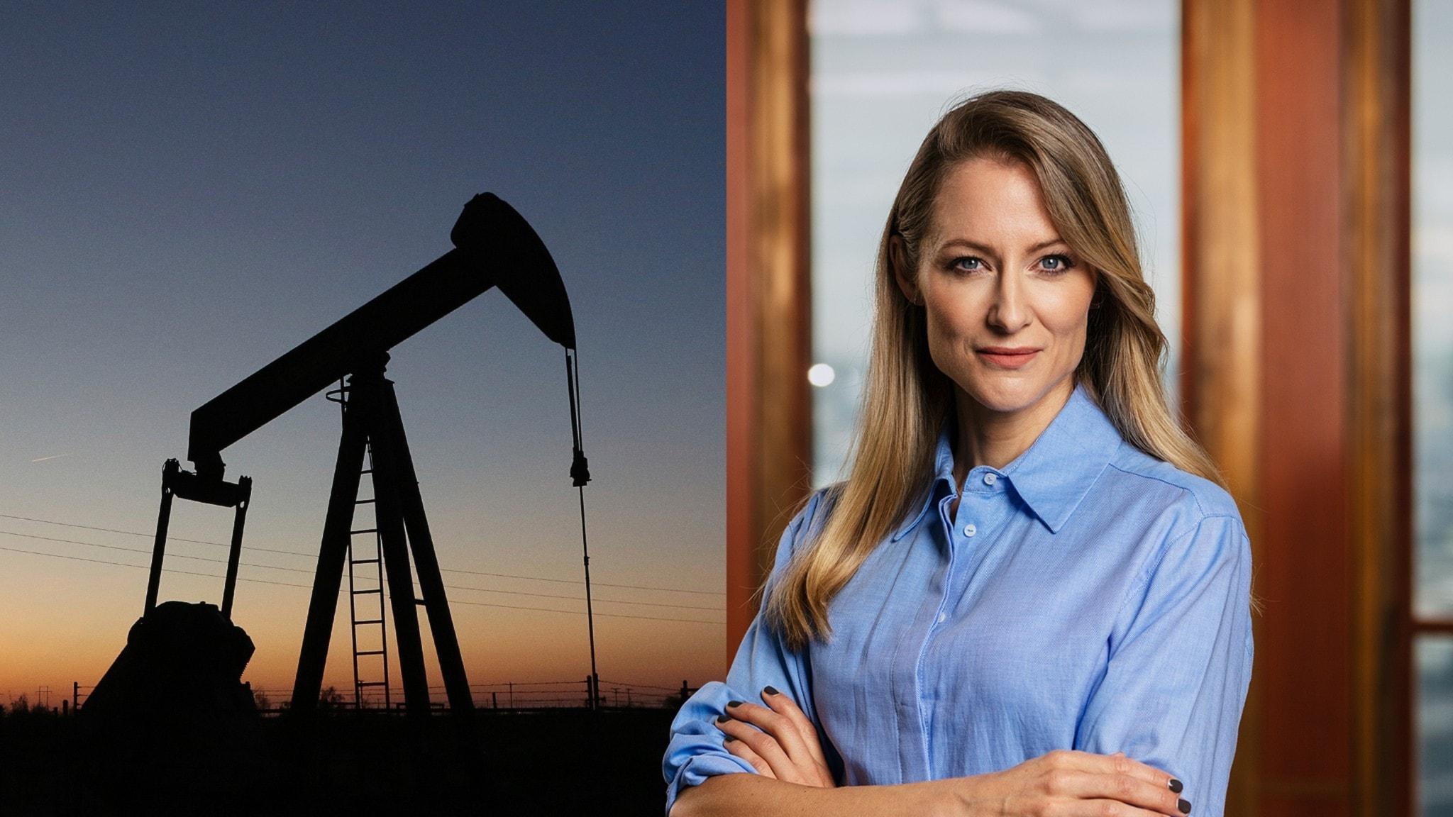 Oljan pumpas upp ur en oljekälla på land