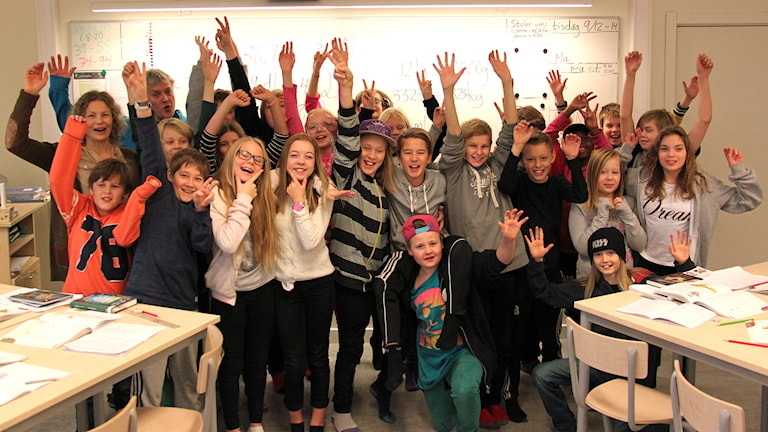 Fagervallsskolan klass 5. Foto: Janne Mårdberg/Sveriges radio.