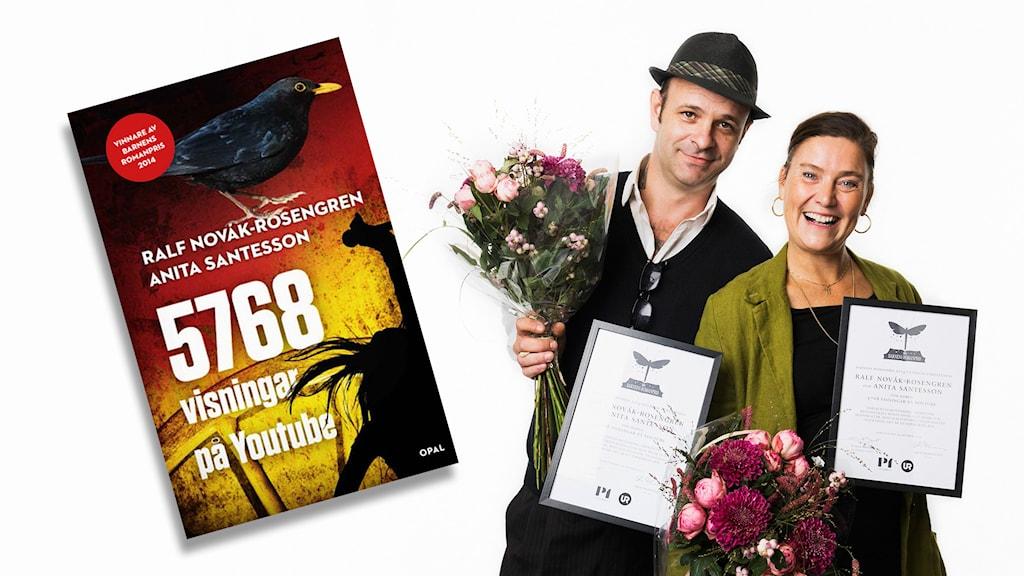 Vinnare av Barnens romanpris 2014. Ralf Novák och Anita Santesson. Foto: Mattias Ahlm/Sveriges Radio