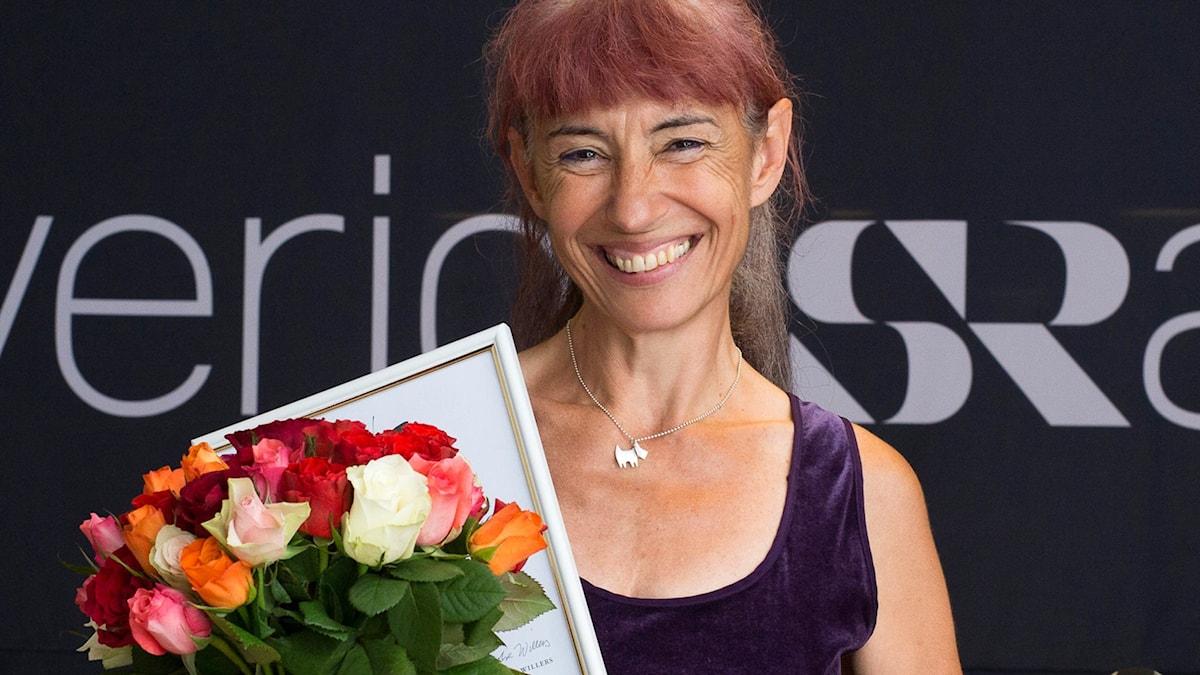 Marie Chantal Long, författare till den vinnande boken Den blomstertid nu kommer. Foto: Micke Grönberg/Sveriges Radio