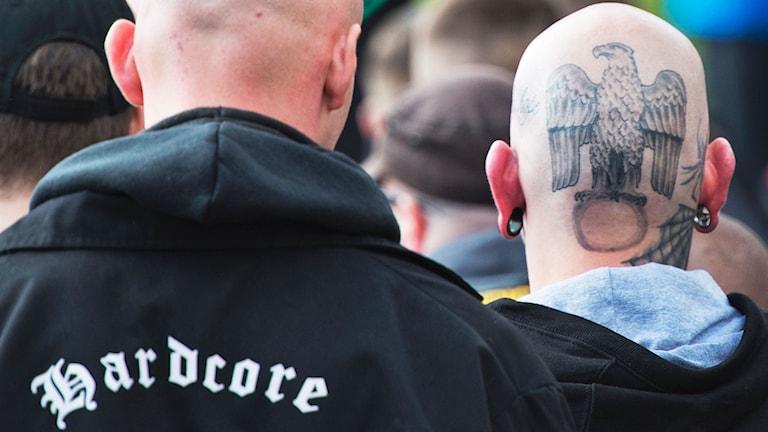 Högerextremister under demonstration i Tyskland. Foto: AP Photo/Jens Meyer.