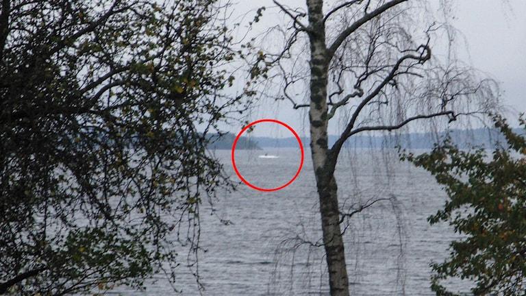 Bild på misstänkt föremål i Stockholms skärgård. Foto: Försvaret.