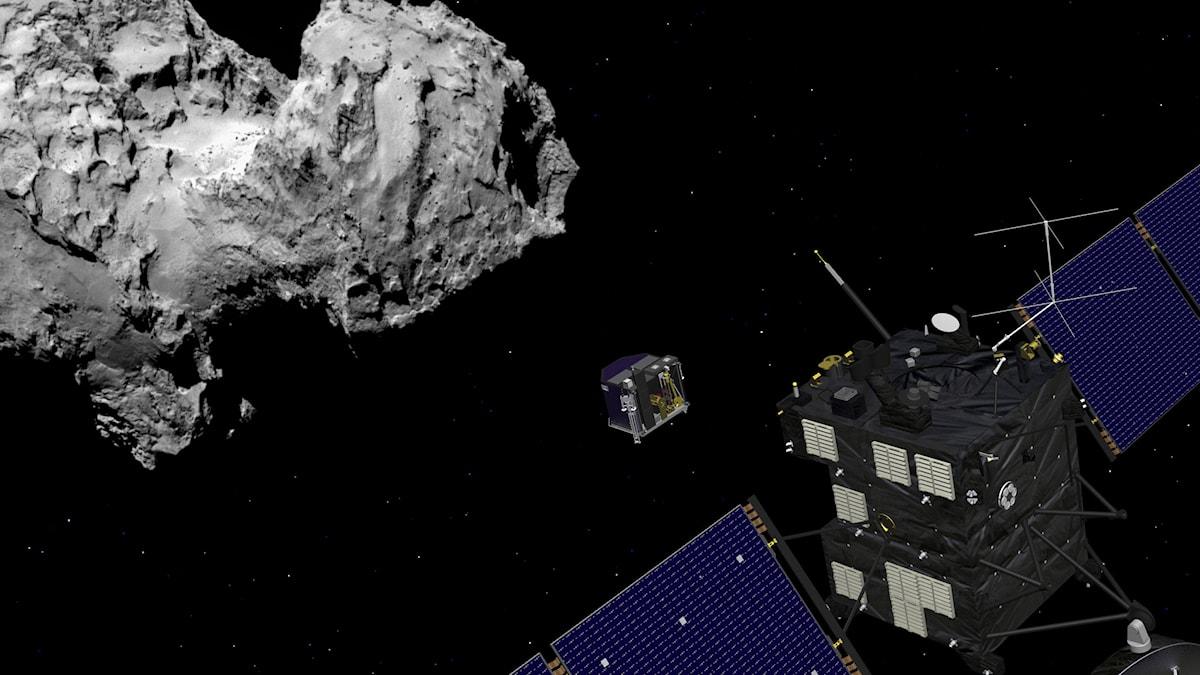 Rymdsonden Rosetta och månlandaren Philae. Photo: ESA