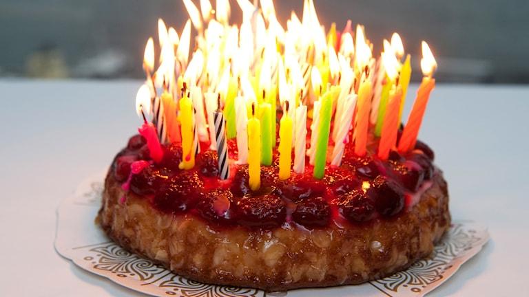 Tårta med ljus. Foto: Bertil Ericson / TT.