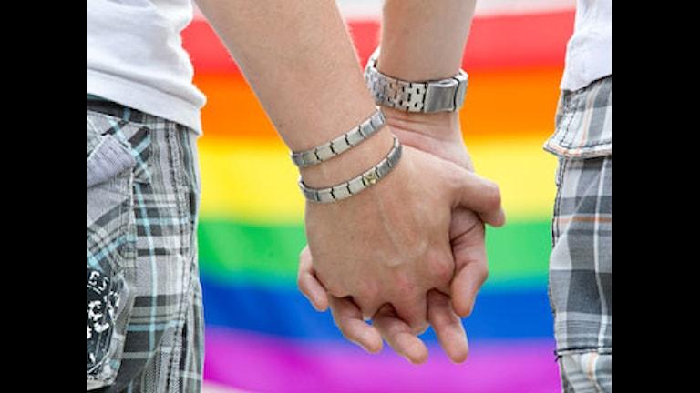 Homosexuella män håller handen. Foto: Scanpix