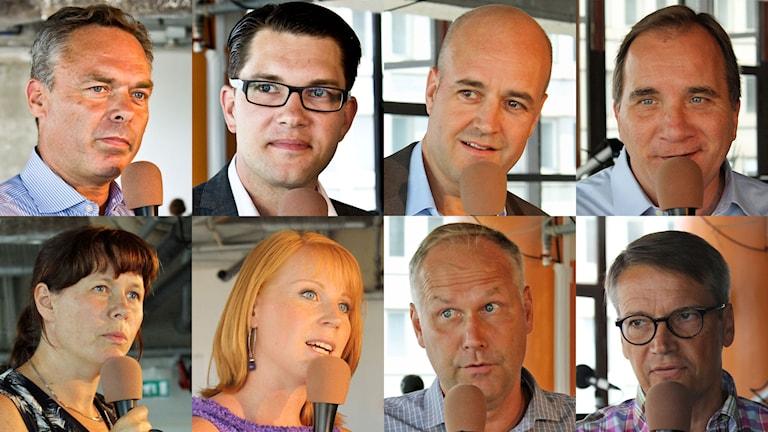 Partiledarna för riksdagspartierna. Foto: Sveriges Radio