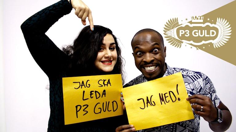 Tina Mehrafzoon, Kodjo Akolor. Programledare P3 Guld. Foto: Eric Tapper/Sveriges Radio.