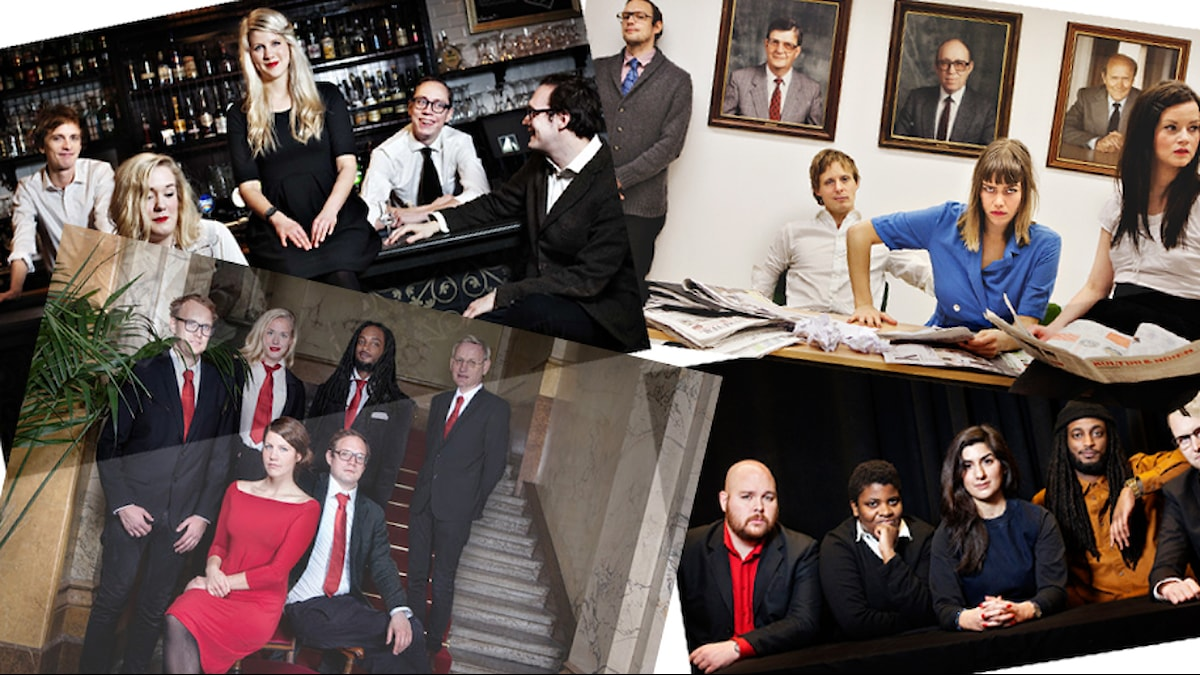 Några av de olika redaktionskonstellationerna. Foto: Sveriges Radio