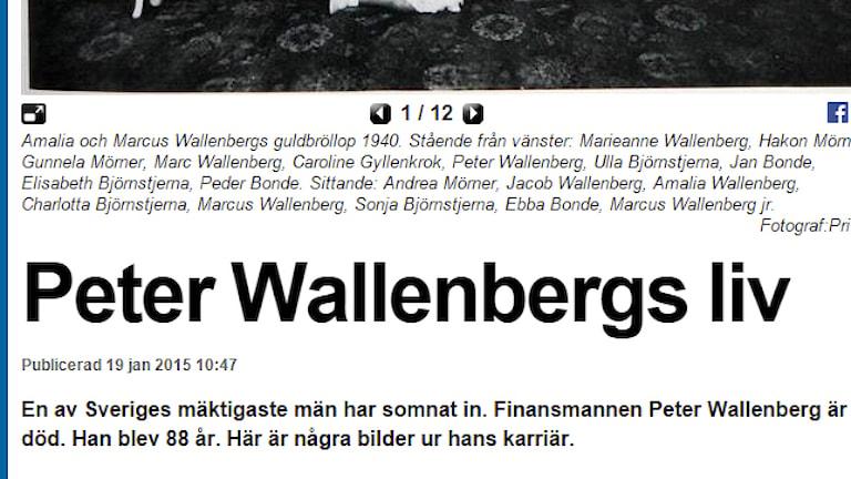 Jobbade alla stenhårt igår – eller fanns det kanske redan lite material klart när dödsbudet kom till redaktionerna? Skärmdump från Expressen en stund efter Peter Wallenbergs dödsbesked kommit.