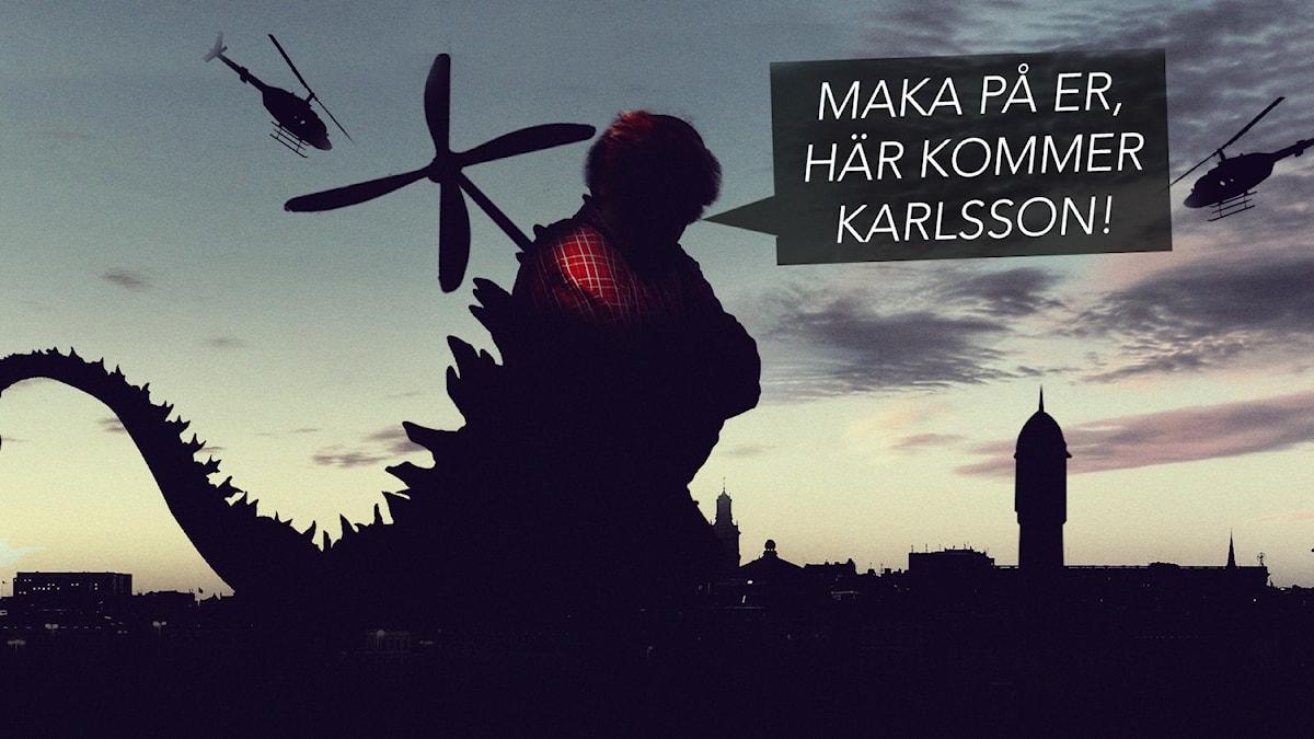 Karlsson på taket och en drake