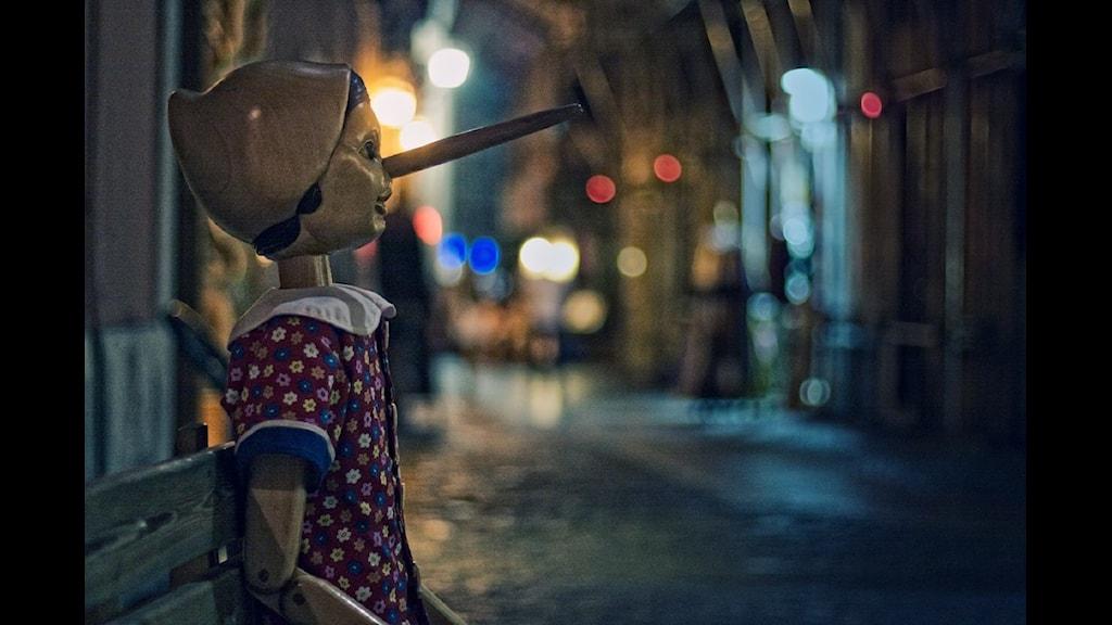 Pinocchio med lång näsa