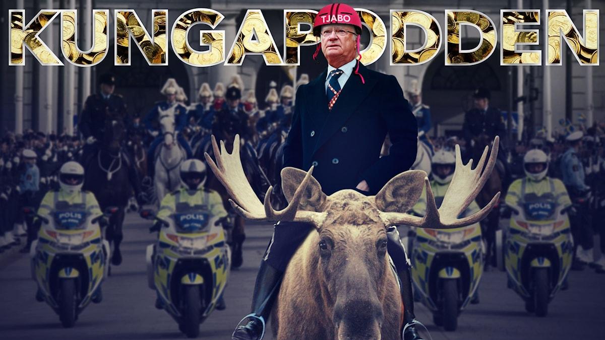 Kungen rider på en älg. På huvudet har han en röd hjälm där det står Tjabo.