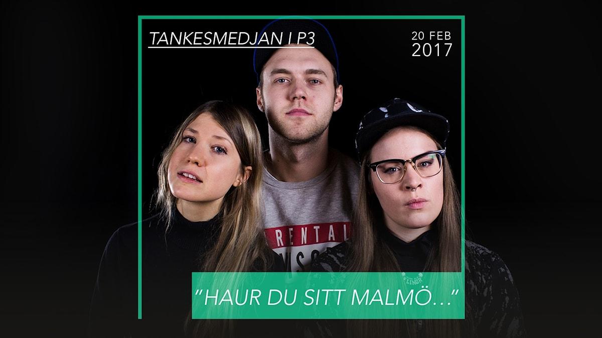 Omslag till Tankesmedjan, på bilden syns Fredrik Söderholm, Elinor Svensson och Sandra Ilar.