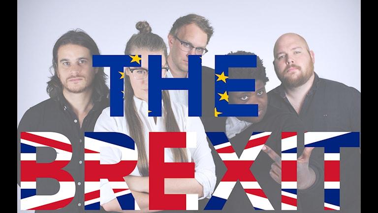 Bild på Tankesmedjans redaktion och texten The Brexit. Ordet The skrivet med EU-flaggans färger och Brexit med Storbritanniens flagga.