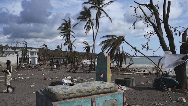 Bild på Haiti efter stormen Matthew