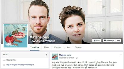 Bild som visar Matens pris sida på Facebook.