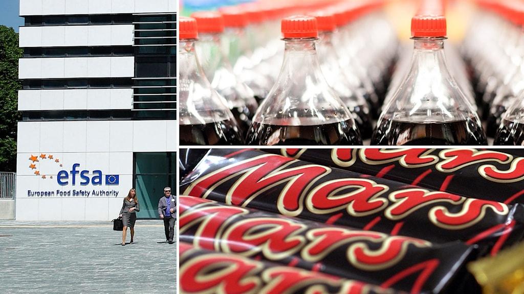 Efsas högkvarer. Foto: Luca Monducci. Coca cola-flaskor och Mars-chockladkakor. Foto: Henrik Holmberg/Maja Suslin/TT.